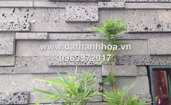 đá ong xám trang trí ốp tường
