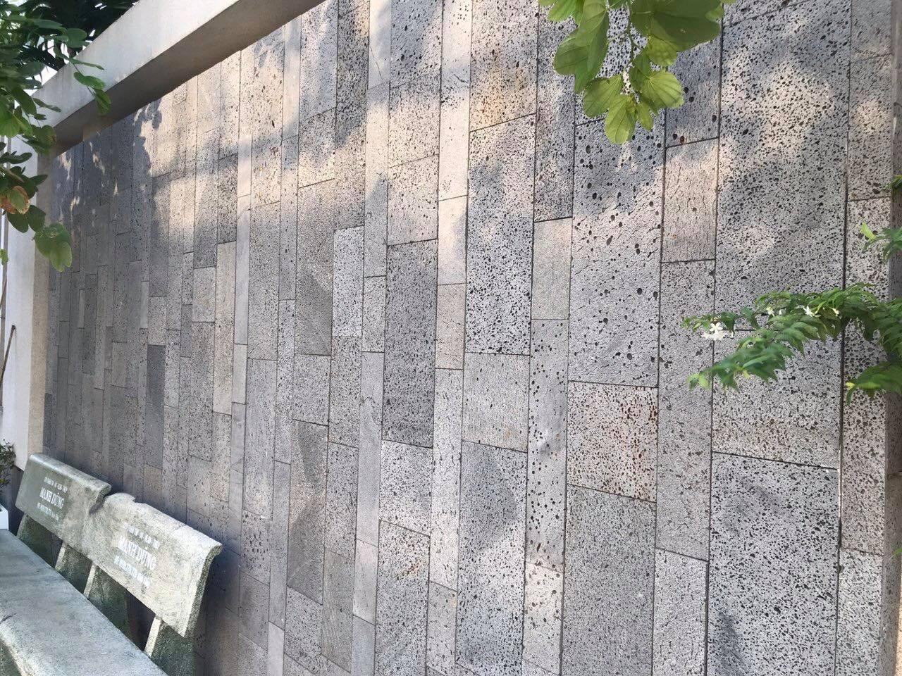 mẫu đá ốp tường ong xám